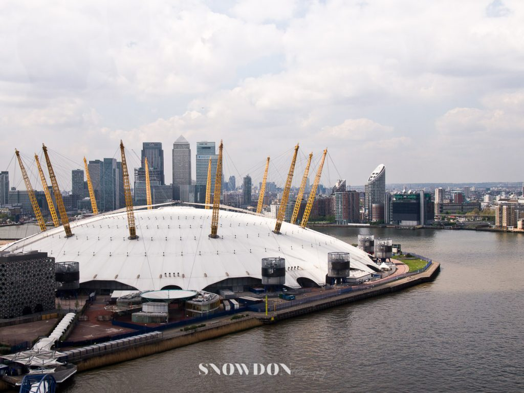 The O2, viewed from the Emirates Air Line, cable car London