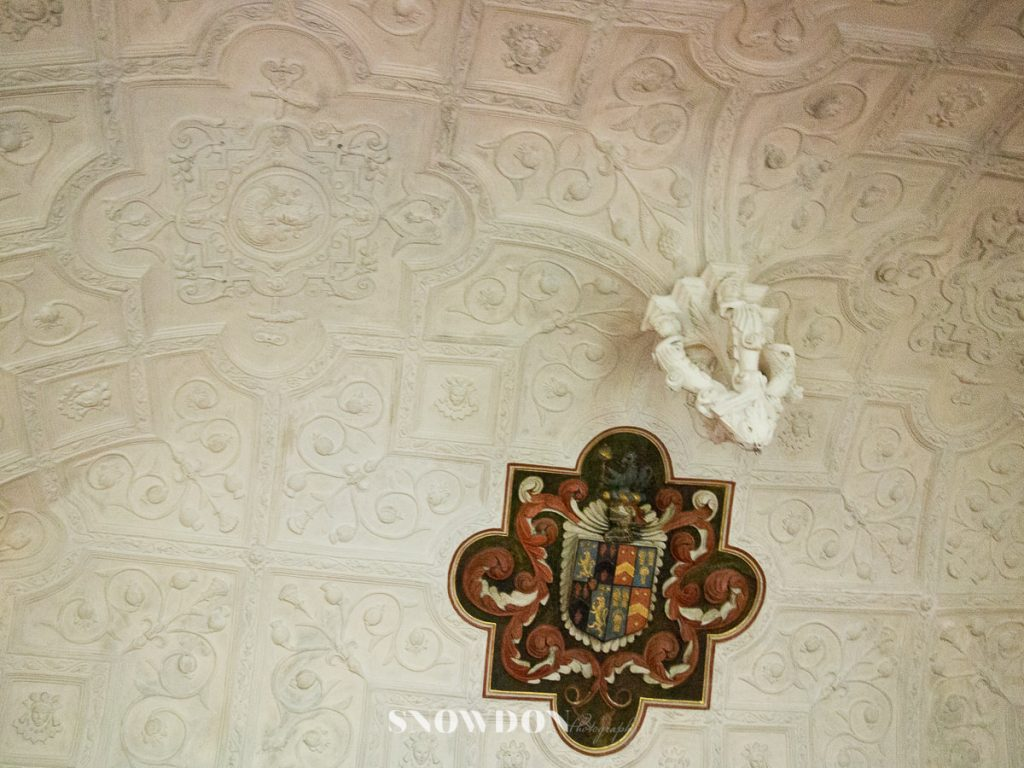 National Trusts' Canons Ashby House : Decorative ceiling in the drawing room