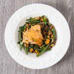 Roasted Chicken with Pancetta & Lentils